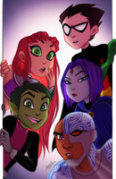 Teen Titans (redraw) by caligrl7072