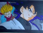 Black Goku and Trunks by Daisuke-Dragneel