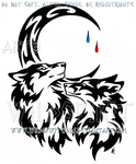 Wolf And Fox + Tear Drop Moon Tribal Design by WildSpiritWolf