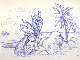 Chrysalis at the beach by KP-ShadowSquirrel