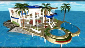 Vacation house in Ocean - MMD Stage DL by chococat9001