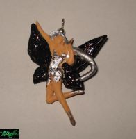 Black and Silver fairy charm by Xiakeyra