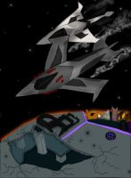 Starscream and Magpie over Kaon by 1ForSorrow2ForJoy