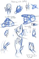 Drawing with SAI 19 Poses Hands by drantyno