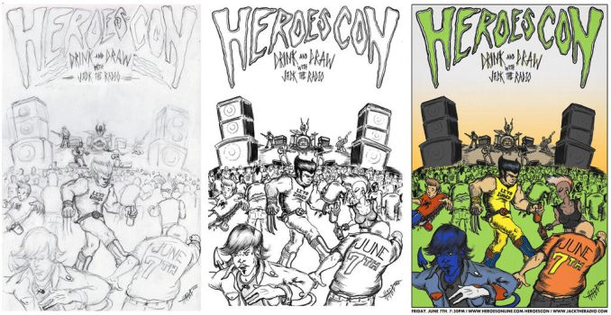 Heroes Con: Rock, Drink 'n' Draw poster PROCESS! by thedigitalgeorge
