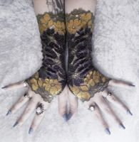 Bijou Lace Fingerless Gloves by ZenAndCoffee