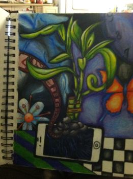 Colored Pencil. The weight of Technology by my-desire-stolen