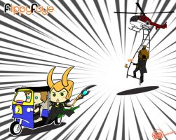 Loki Escape Scene in Thailand with Nick Fury by FlippyFaye