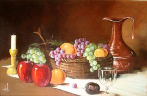 Still life with grapes by ricardomassucatto