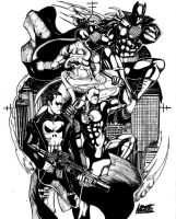Punisher, Black Panther, Daredevil and Iron Fist by NikolasDraperIvey