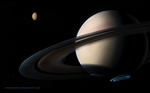 Saturn and Titan by SpaceDog500