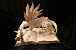 Knight and Dragon II Book Sculpture by wetcanvas