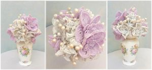 Pastel purple and white hand beaded bouquet by EverAfterDesigns