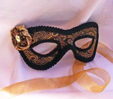 Brocade Leather Masquerade Mask by Dara Trahan by DaraGallery