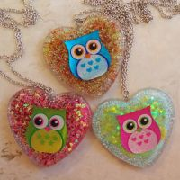 Owl resin charm necklaces by chkimbrough