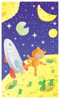 Space, cheese, cat and mice_v by jkBunny
