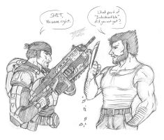 G: Marcus' Reaction To Wolverine's Claws by MyFantasiWorld