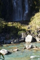 NZ River then garden then waterfall by Chunga-Stock