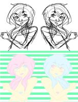 twins (with lineart) by MissShell666