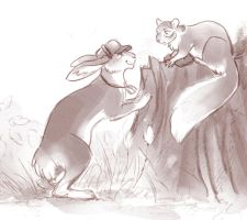 Hare and squirrel by Kethavel