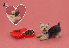 I Wuff U Miniature Yorkie Sculpture by Pajutee