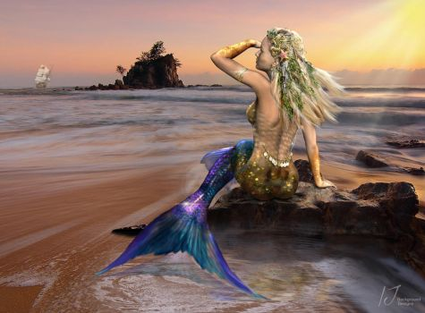 Mermaid Looking by irenejones-art