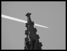 Plane Flying Behind Church Spire by ncaph