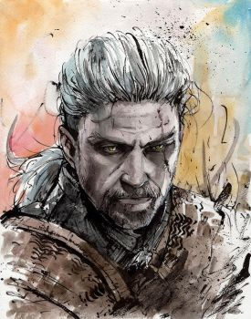 Geralt of Rivia watercolor and sumi ink by MyCKs