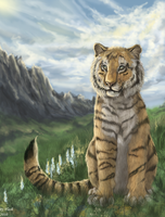 Tiger and mountains by FlashW