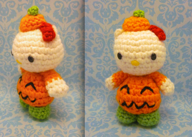 Halloween Jack O Lantern Hello Kitty Amigurumi by Spudsstitches