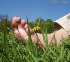 Barefoot on grass by KarinaDreamer