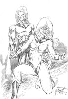 _Ms. Marvel and Sentry by JardelCruz