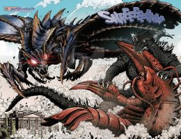 two kaijus battle the king of sea by zalgo529