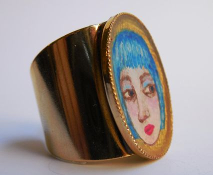 Girl with Blue Hair RING by polpolina