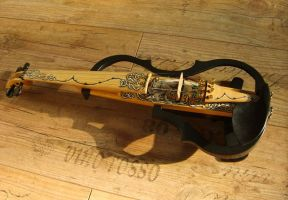 Electric Wolf Violin by Hollow-Moon-Art