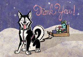 Husky Thank You Card by MonicaMcClain