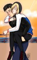 Otabek x Yurio - Piggy back ride by LaNachitaDibuja