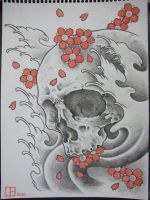 black and grey skull with red by AsatorArise
