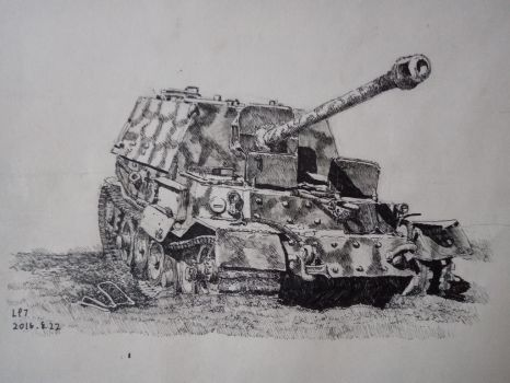Panzerjger Tiger P Ferdinand (black ball pen) by lhlclllx97
