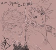 WIP -Squall VS Cloud- by glen1174