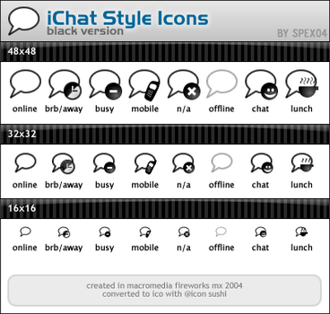 iChat Style Icons - Black by spex04