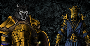 Skyrim Khajiit warrior and Miraak(sketchbook pro) by IcenHeart