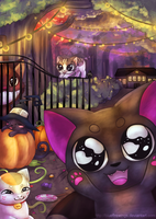 Happy Kitty Halloween! by Bluefirewings