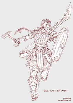 Nimno - Goliath Fighter - Line Art by bchart