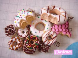 Polymer clay doughnuts by Claylettes