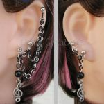 Black and Silver Music Cartilage Chain Earrings by merigreenleaf