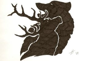Stag and wolf tattoo design by Draci-Be