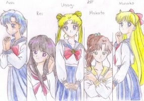 Sailor scouts colored by lucinda3rd