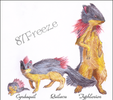 Cyndaquil, Quilava, Typhlosion by 87Freeze