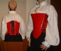 New Red Elizabethan Corset03 by ladyrose04